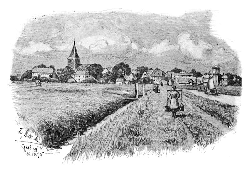 Garding und Süderbootfahrt, von Fritz Stoltenberg um 1895, Quelle: Buch Schleswig-Holstein Meerumschlungen von 1896